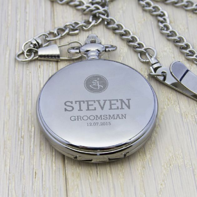 Personalised Groomsman Monogram Collection Pocket Watch - Silver